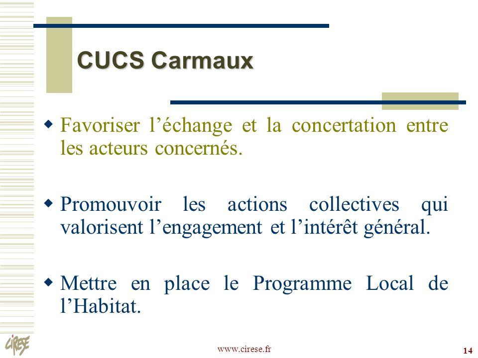 CUCS CarmauxFavoriser l'échange et la concertation entre les acteurs concernés.