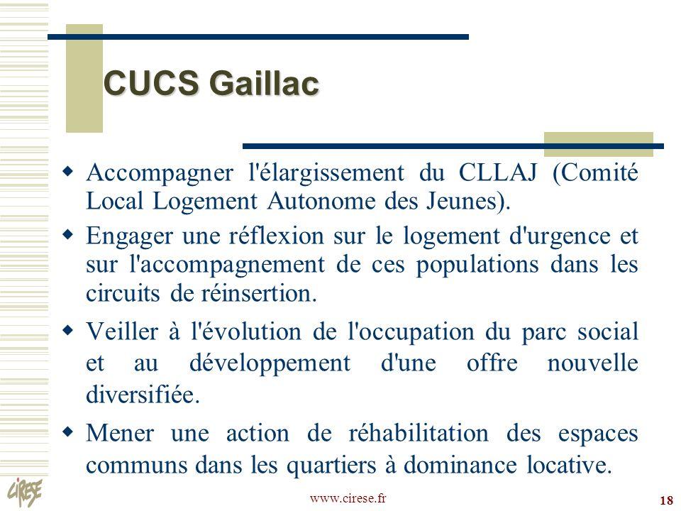 CUCS Gaillac Accompagner l élargissement du CLLAJ (Comité Local Logement Autonome des Jeunes).