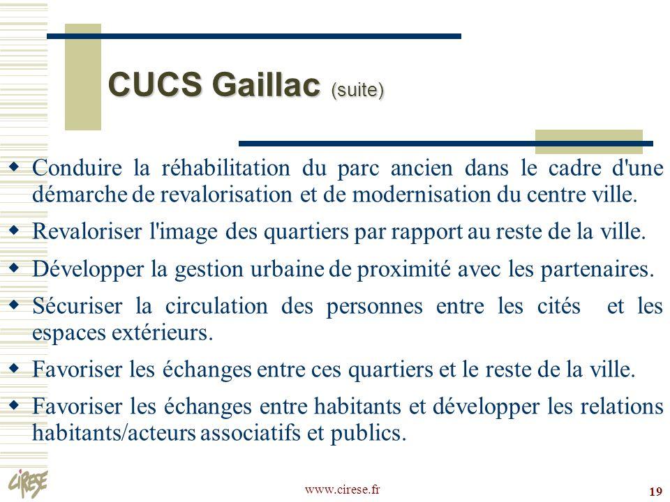 CUCS Gaillac (suite)Conduire la réhabilitation du parc ancien dans le cadre d une démarche de revalorisation et de modernisation du centre ville.