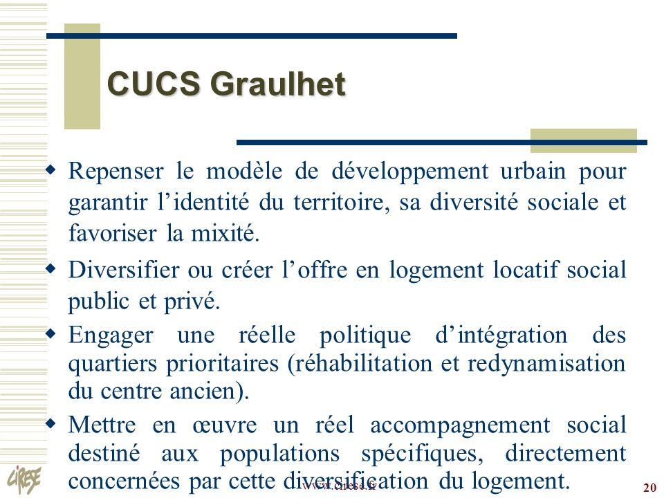 CUCS Graulhet Repenser le modèle de développement urbain pour garantir l'identité du territoire, sa diversité sociale et favoriser la mixité.