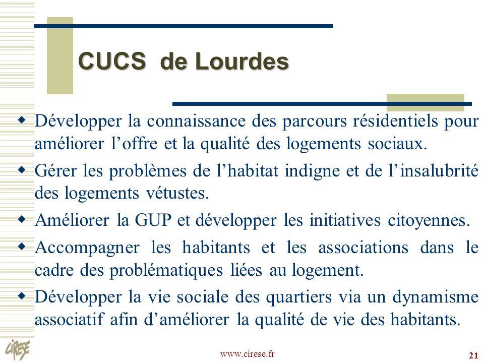 CUCS de Lourdes Développer la connaissance des parcours résidentiels pour améliorer l'offre et la qualité des logements sociaux.