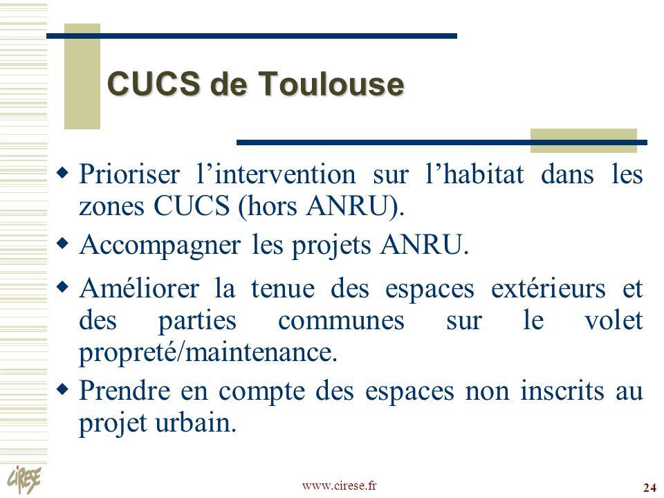 CUCS de ToulousePrioriser l'intervention sur l'habitat dans les zones CUCS (hors ANRU). Accompagner les projets ANRU.