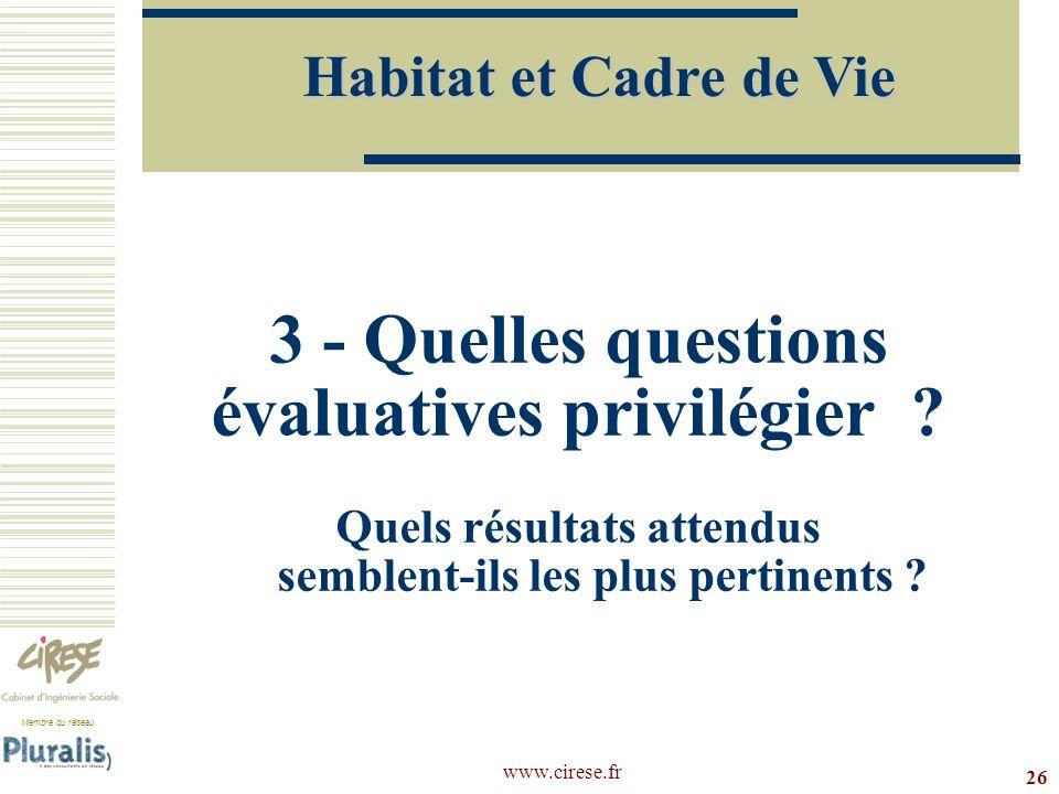 Habitat et Cadre de Vie 3 - Quelles questions évaluatives privilégier Quels résultats attendus semblent-ils les plus pertinents