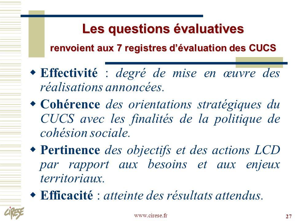 Effectivité : degré de mise en œuvre des réalisations annoncées.