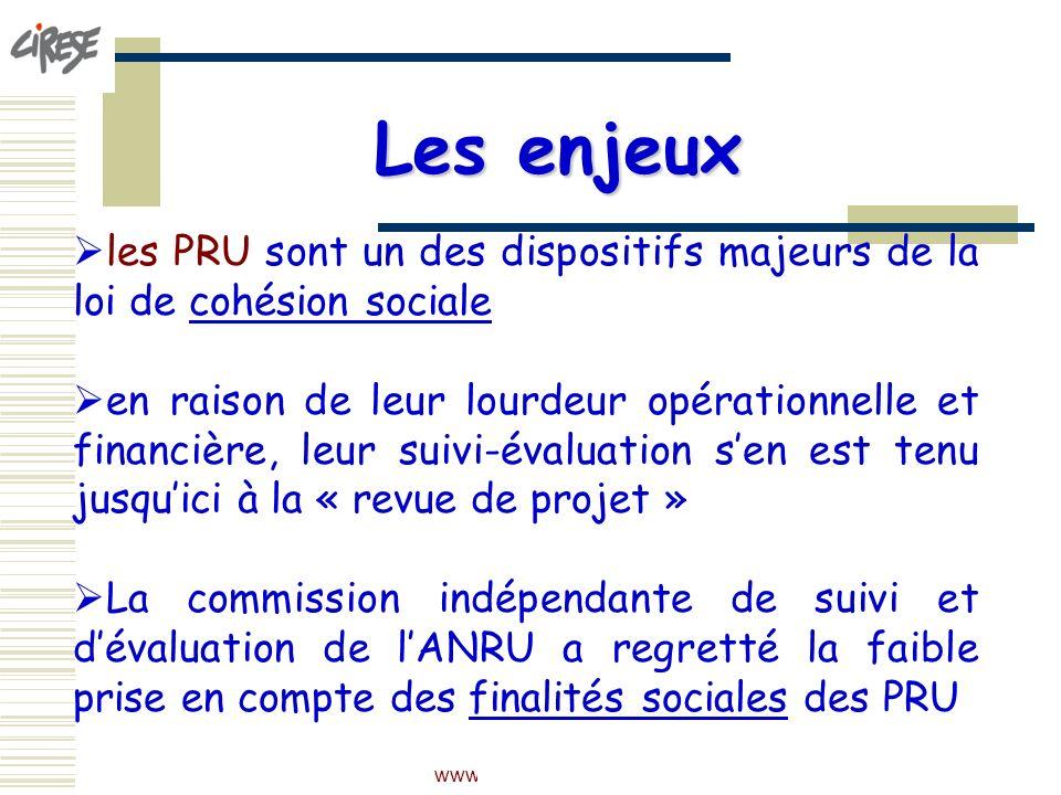 Les enjeux les PRU sont un des dispositifs majeurs de la loi de cohésion sociale.