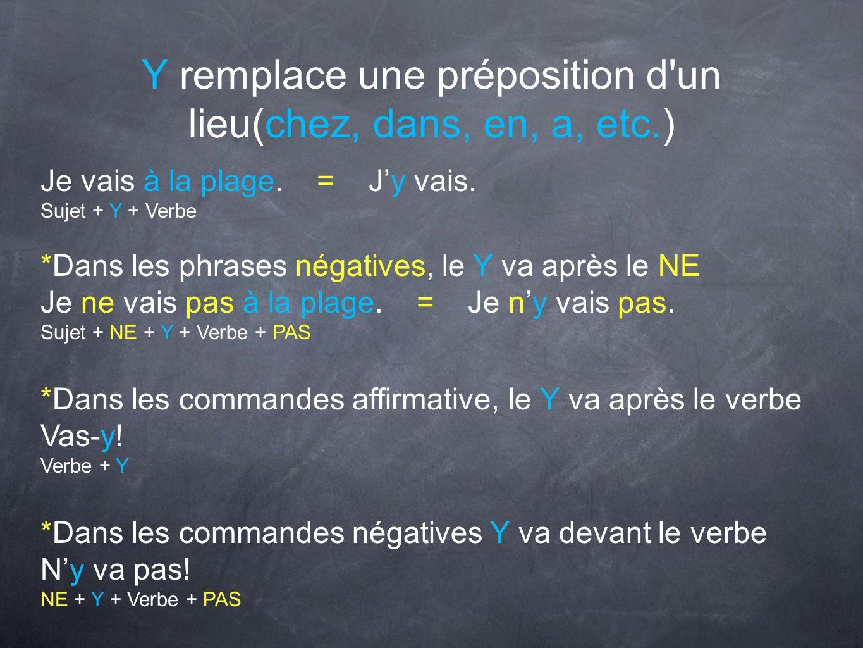 Y remplace une préposition d un lieu(chez, dans, en, a, etc.)