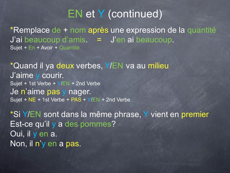 EN et Y (continued) *Remplace de + nom après une expression de la quantité. J'ai beaucoup d'amis. = J'en ai beaucoup.