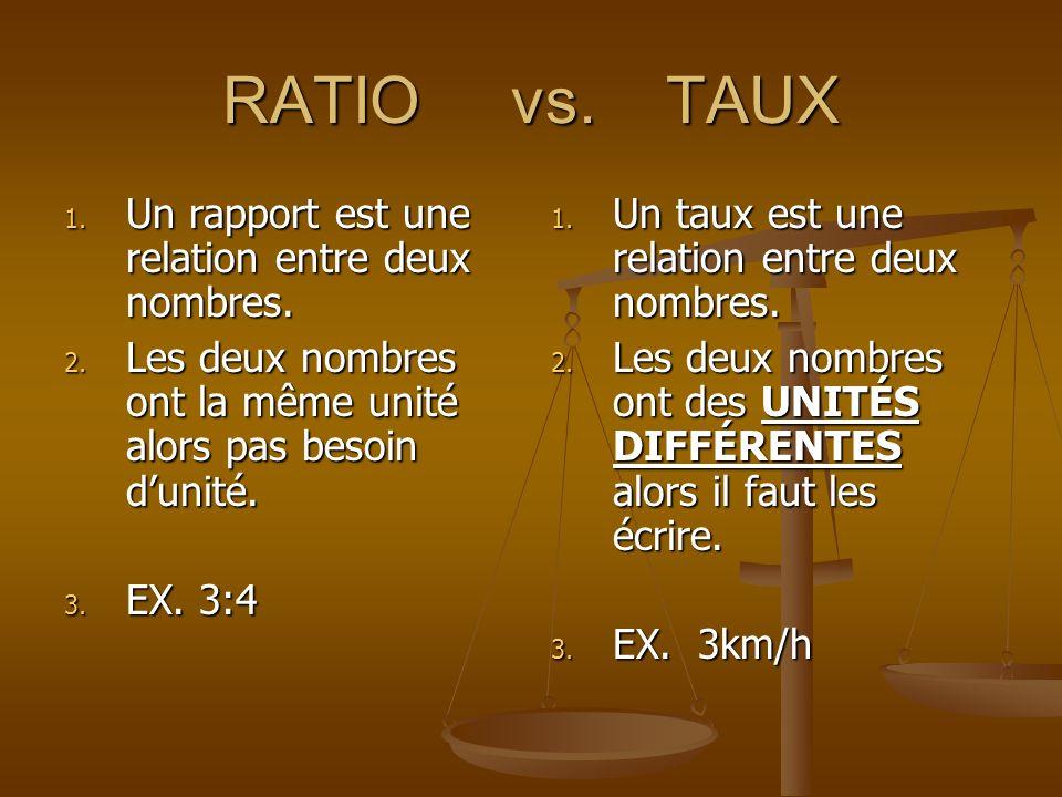 RATIO vs. TAUX Un rapport est une relation entre deux nombres.