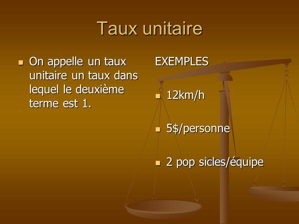 Taux unitaireOn appelle un taux unitaire un taux dans lequel le deuxième terme est 1. EXEMPLES. 12km/h.
