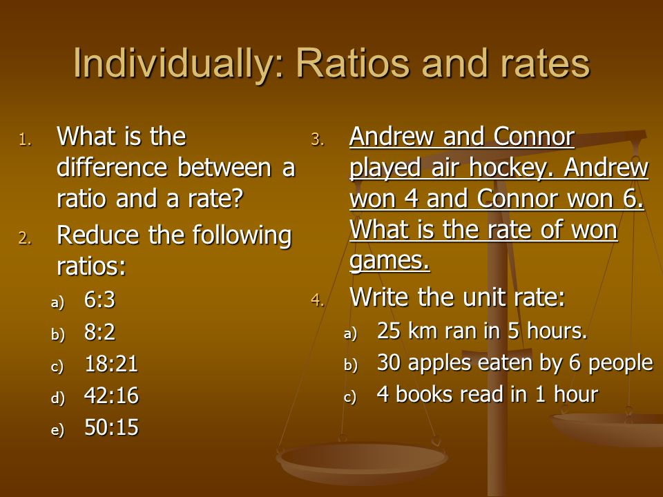 Individually: Ratios and rates