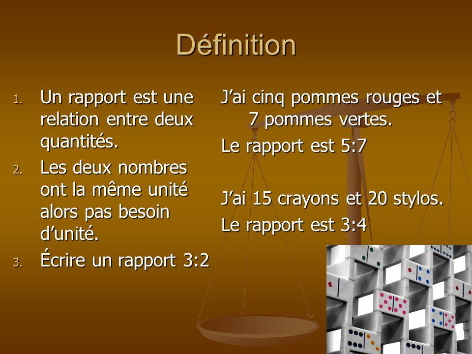 Définition Un rapport est une relation entre deux quantités.