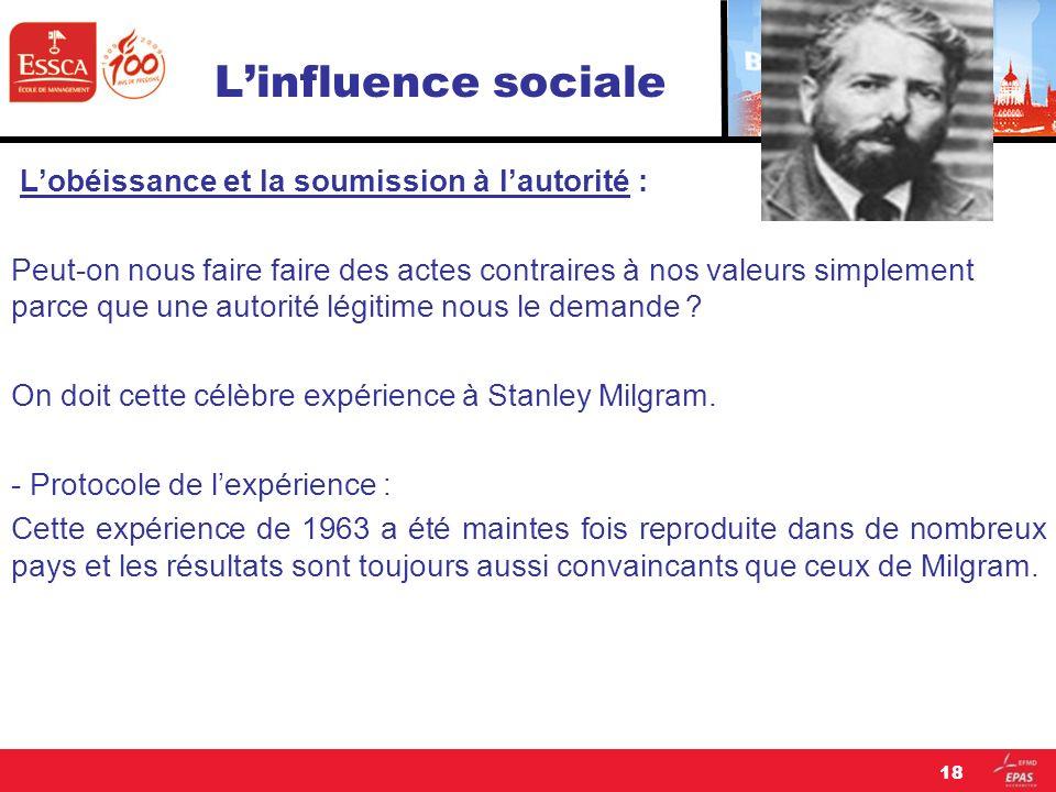 L'influence sociale L'obéissance et la soumission à l'autorité :