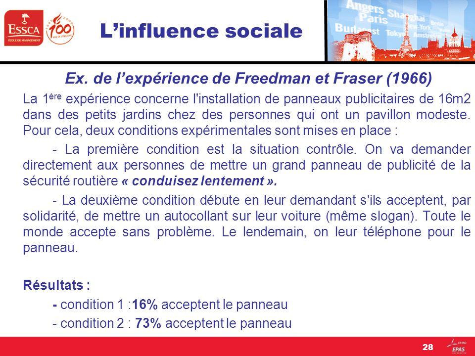 Ex. de l'expérience de Freedman et Fraser (1966)
