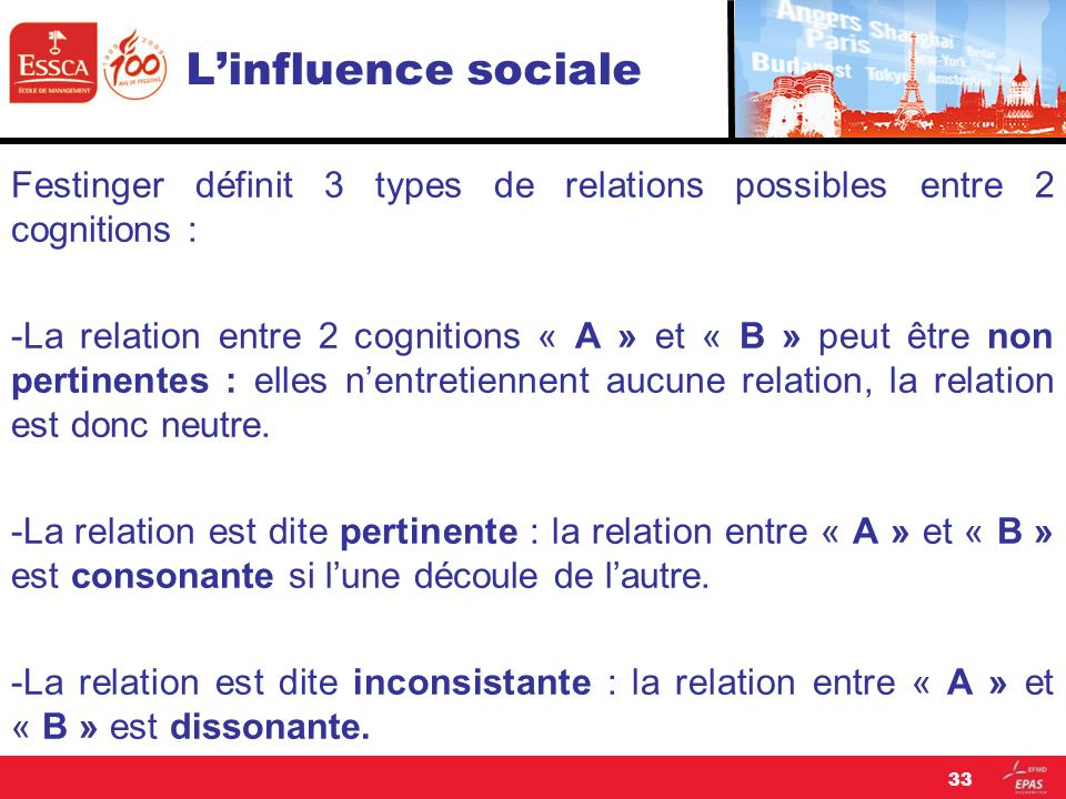 L'influence sociale Festinger définit 3 types de relations possibles entre 2 cognitions :