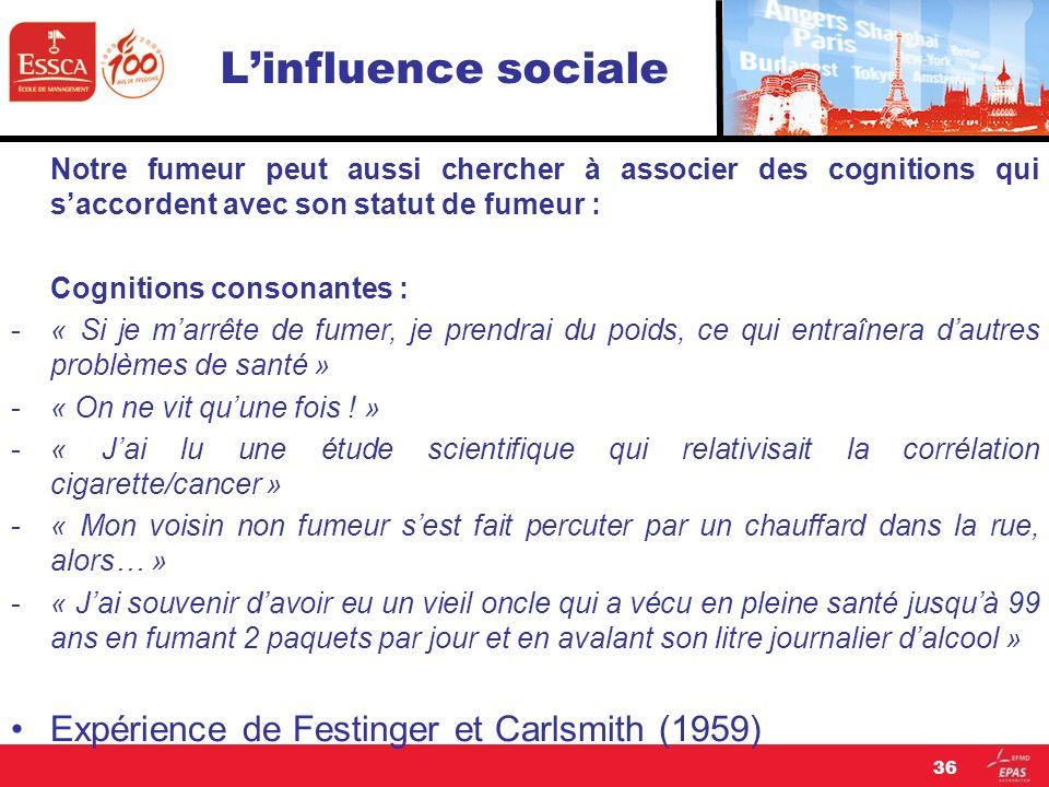 L'influence sociale Expérience de Festinger et Carlsmith (1959)
