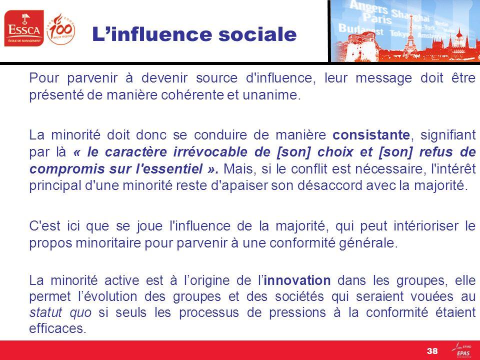 L'influence sociale Pour parvenir à devenir source d influence, leur message doit être présenté de manière cohérente et unanime.