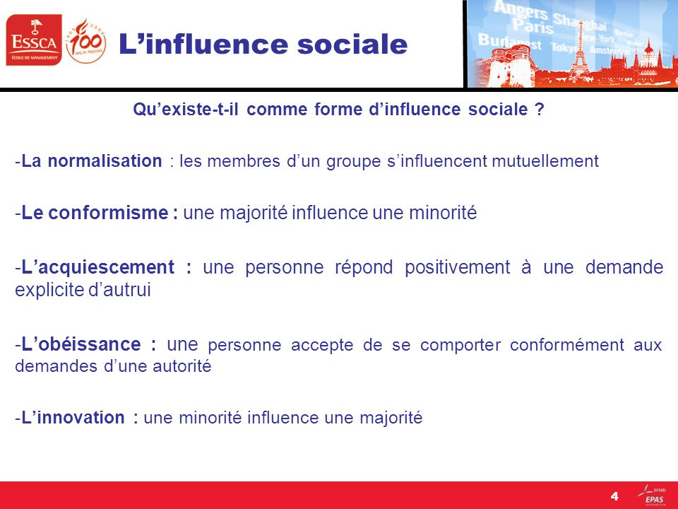 Qu'existe-t-il comme forme d'influence sociale