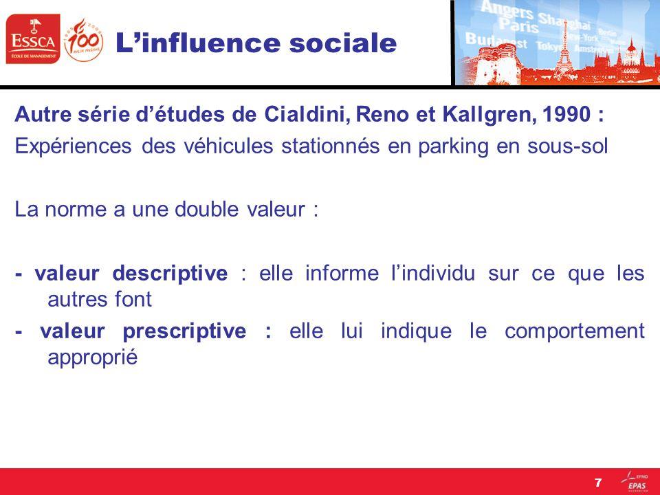 L'influence sociale Autre série d'études de Cialdini, Reno et Kallgren, 1990 : Expériences des véhicules stationnés en parking en sous-sol.