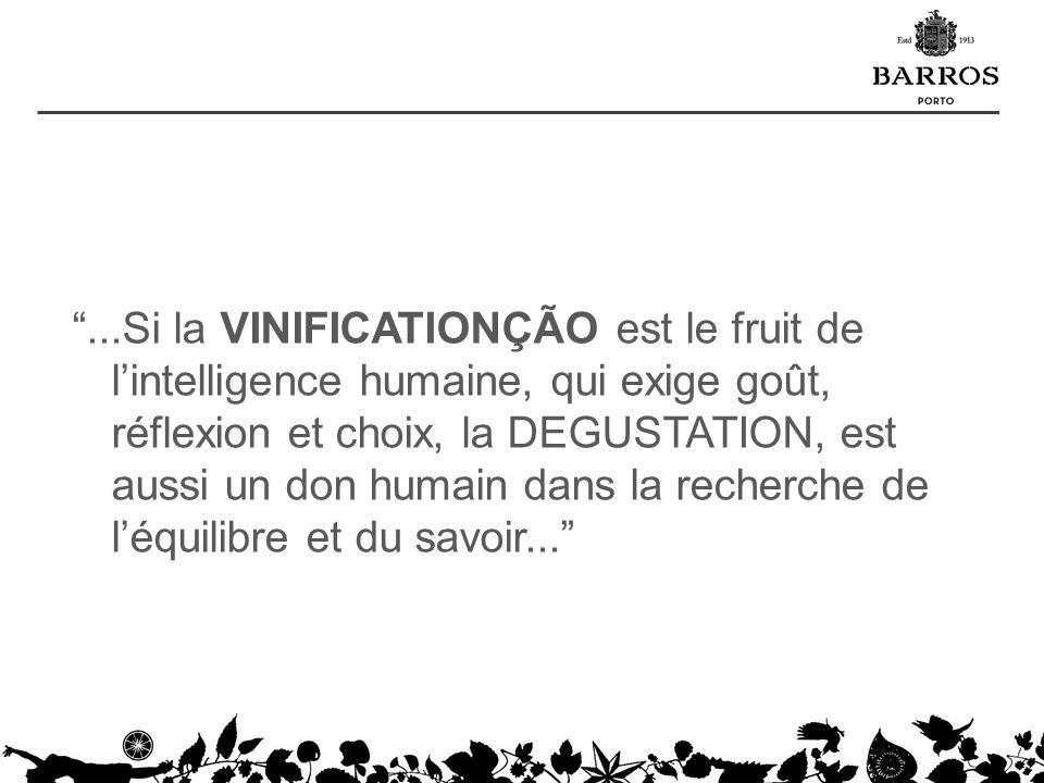 ...Si la VINIFICATIONÇÃO est le fruit de l'intelligence humaine, qui exige goût, réflexion et choix, la DEGUSTATION, est aussi un don humain dans la recherche de l'équilibre et du savoir...