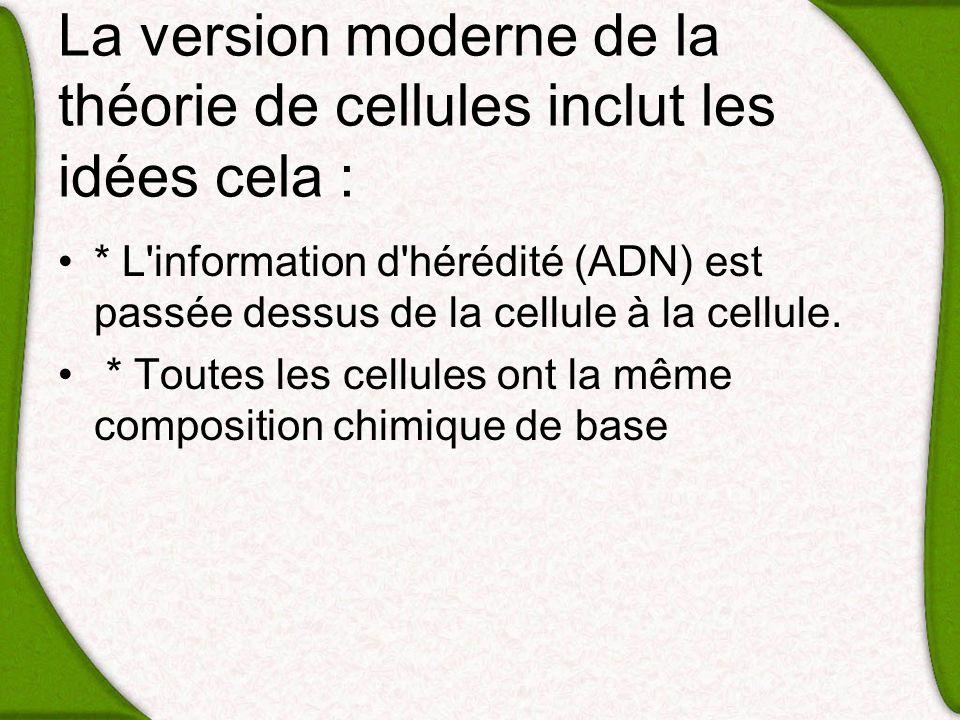 La version moderne de la théorie de cellules inclut les idées cela :