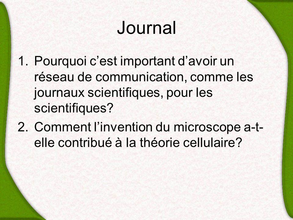 Journal Pourquoi c'est important d'avoir un réseau de communication, comme les journaux scientifiques, pour les scientifiques