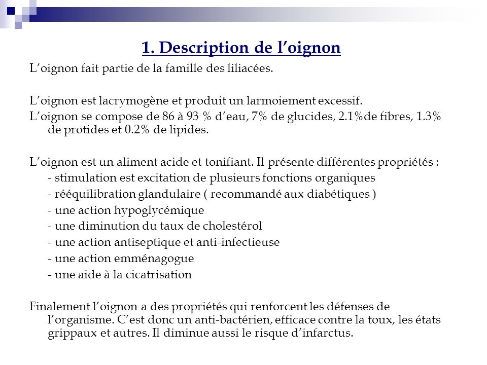 1. Description de l'oignon
