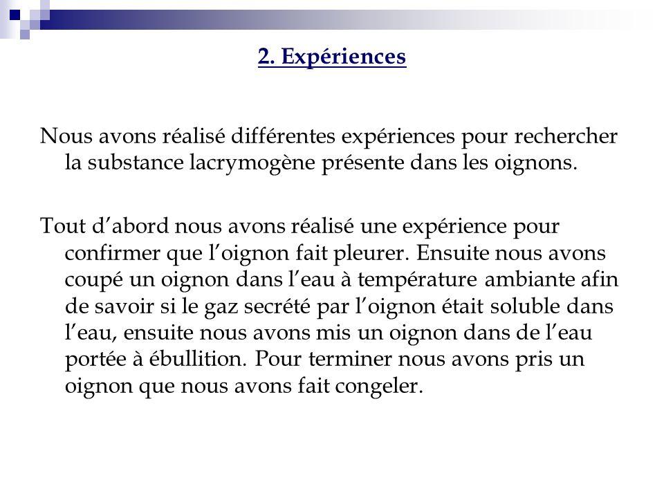 2. Expériences Nous avons réalisé différentes expériences pour rechercher la substance lacrymogène présente dans les oignons.