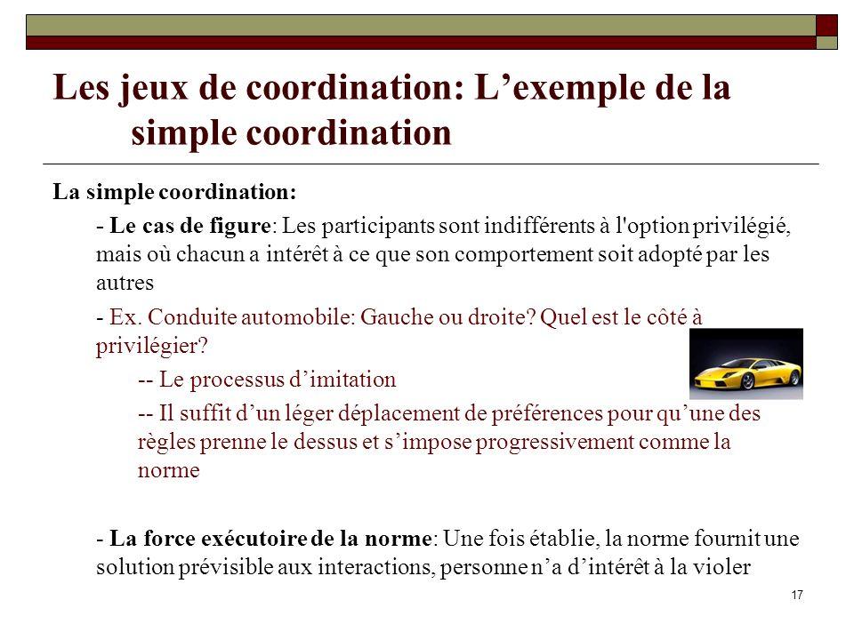 Les jeux de coordination: L'exemple de la simple coordination