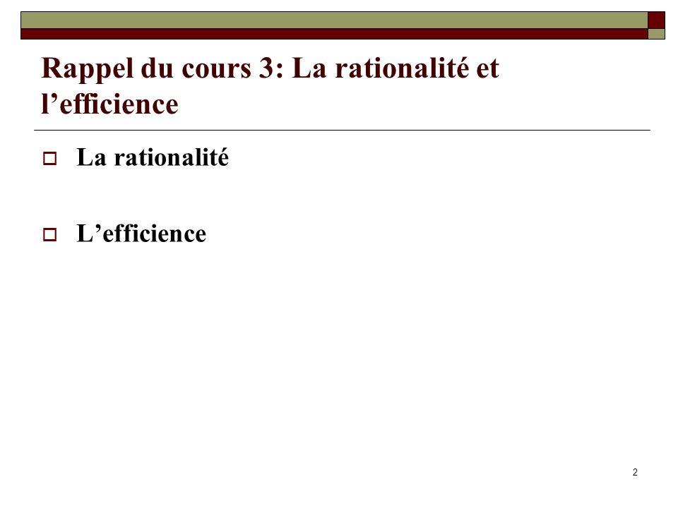 Rappel du cours 3: La rationalité et l'efficience