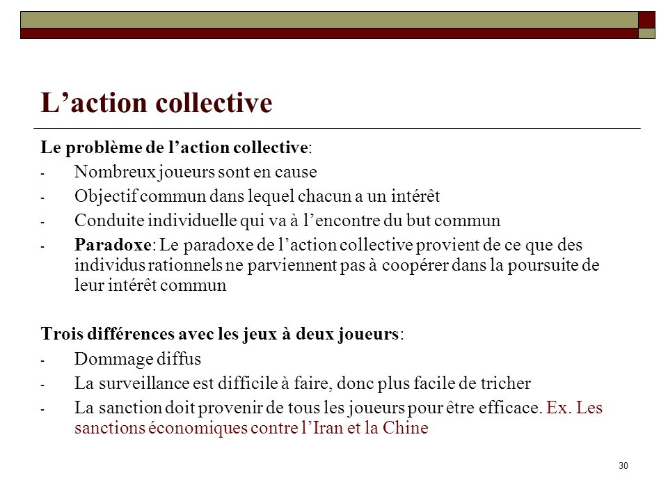 L'action collective Le problème de l'action collective: