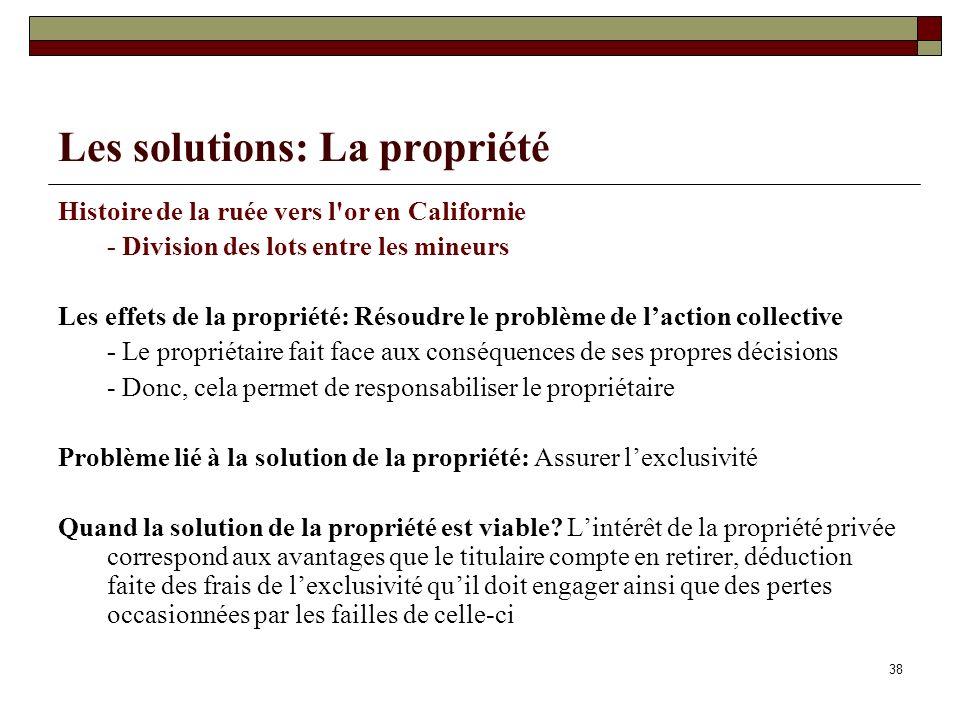 Les solutions: La propriété