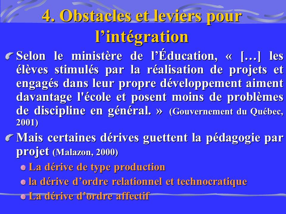 4. Obstacles et leviers pour l'intégration