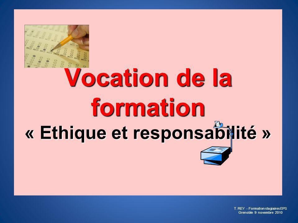 Vocation de la formation « Ethique et responsabilité »