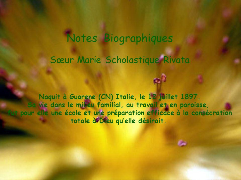 Notes Biographiques Sœur Marie Scholastique Rivata