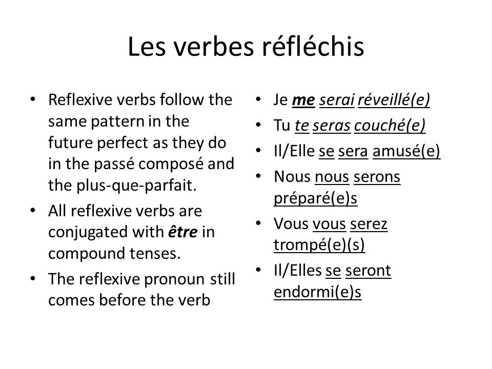 Les verbes réfléchisReflexive verbs follow the same pattern in the future perfect as they do in the passé composé and the plus-que-parfait.