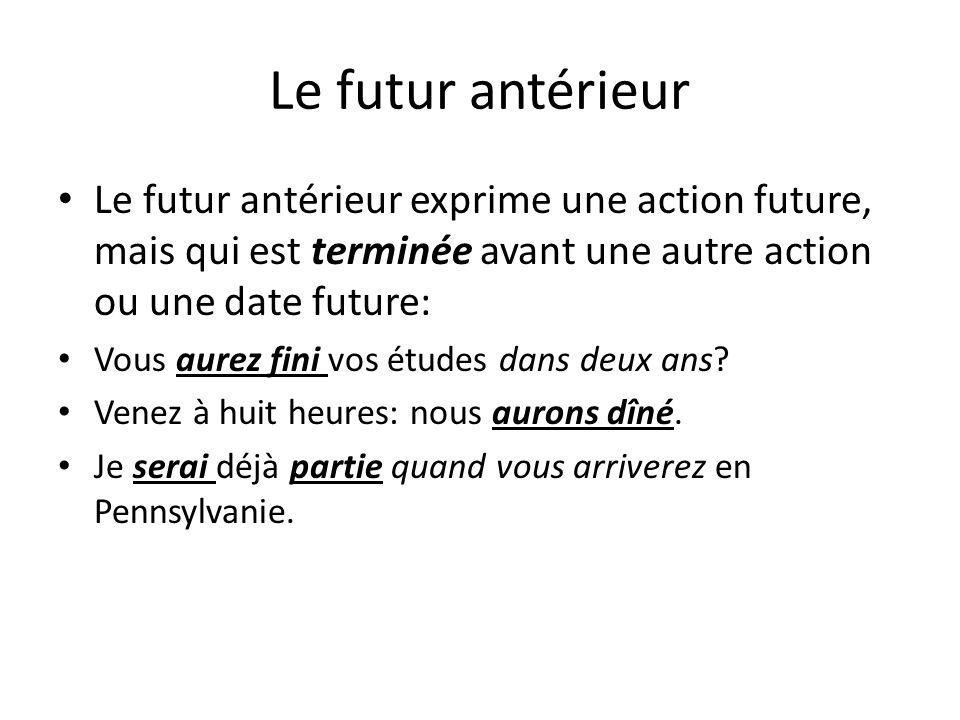 Le futur antérieur Le futur antérieur exprime une action future, mais qui est terminée avant une autre action ou une date future: