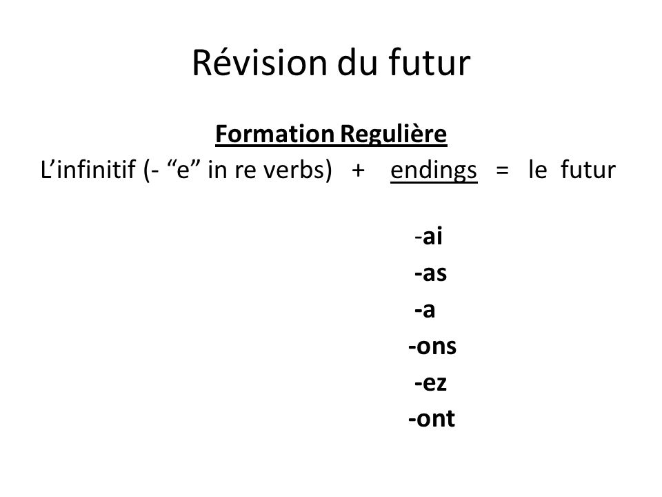 Révision du futur Formation Regulière L'infinitif (- e in re verbs) + endings = le futur -ai -as -a -ons -ez -ont