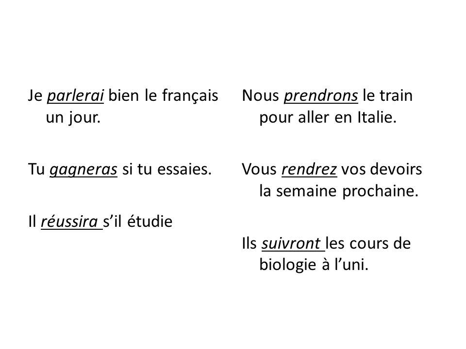 Je parlerai bien le français un jour. Tu gagneras si tu essaies