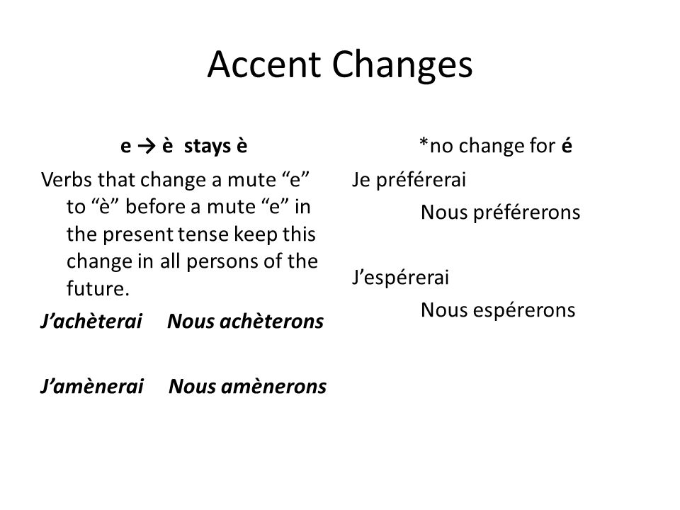 Accent Changes e → è stays è *no change for é