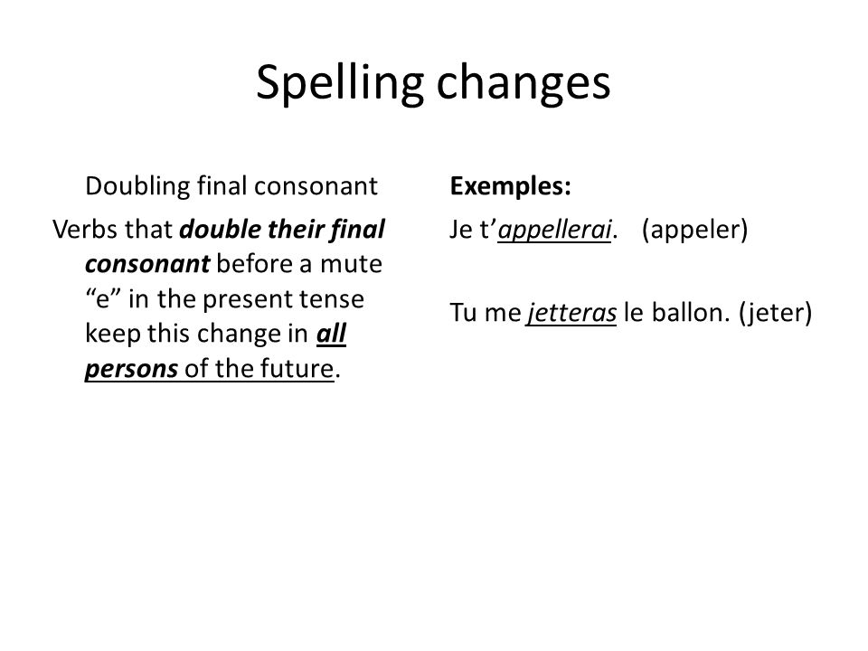 Spelling changes Doubling final consonant Exemples: