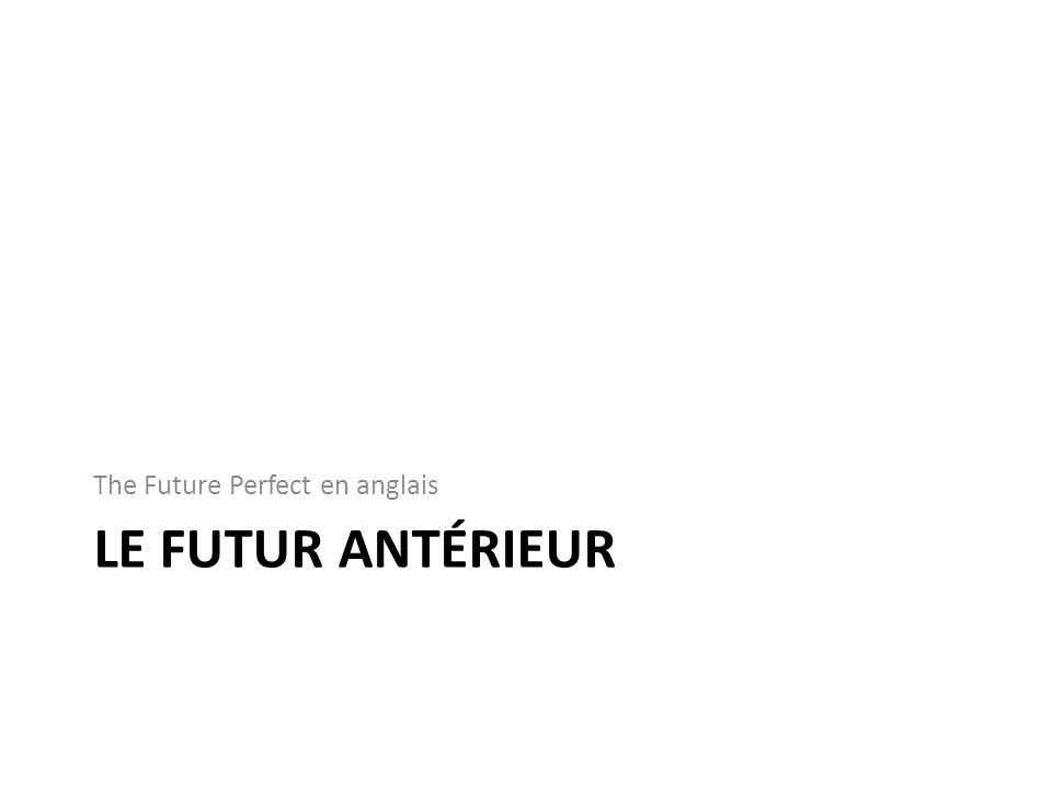 The Future Perfect en anglais