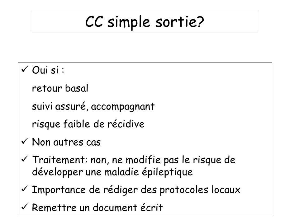 CC simple sortie Oui si : retour basal suivi assuré, accompagnant