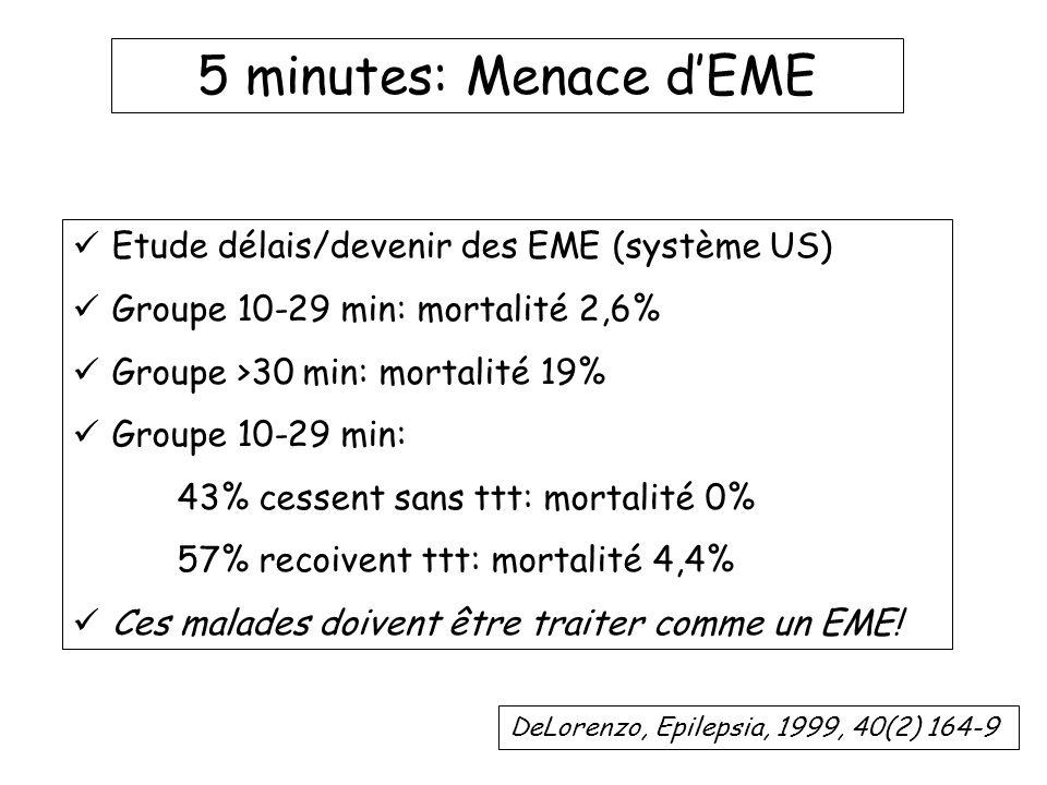 5 minutes: Menace d'EME Etude délais/devenir des EME (système US)