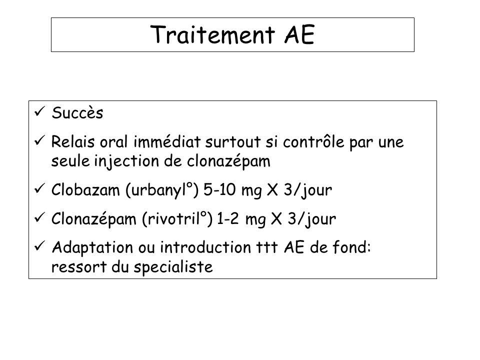 Traitement AE Succès. Relais oral immédiat surtout si contrôle par une seule injection de clonazépam.