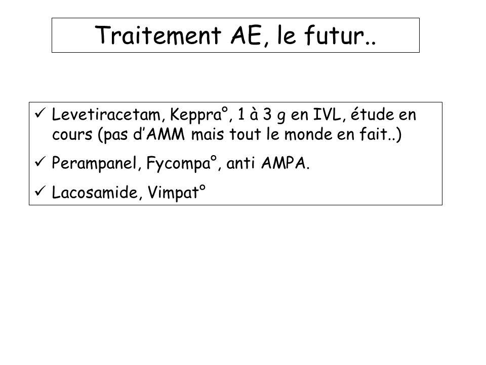 Traitement AE, le futur.. Levetiracetam, Keppra°, 1 à 3 g en IVL, étude en cours (pas d'AMM mais tout le monde en fait..)