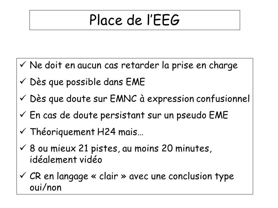 Place de l'EEG Ne doit en aucun cas retarder la prise en charge