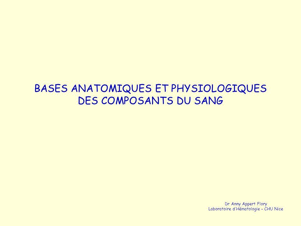 BASES ANATOMIQUES ET PHYSIOLOGIQUES DES COMPOSANTS DU SANG