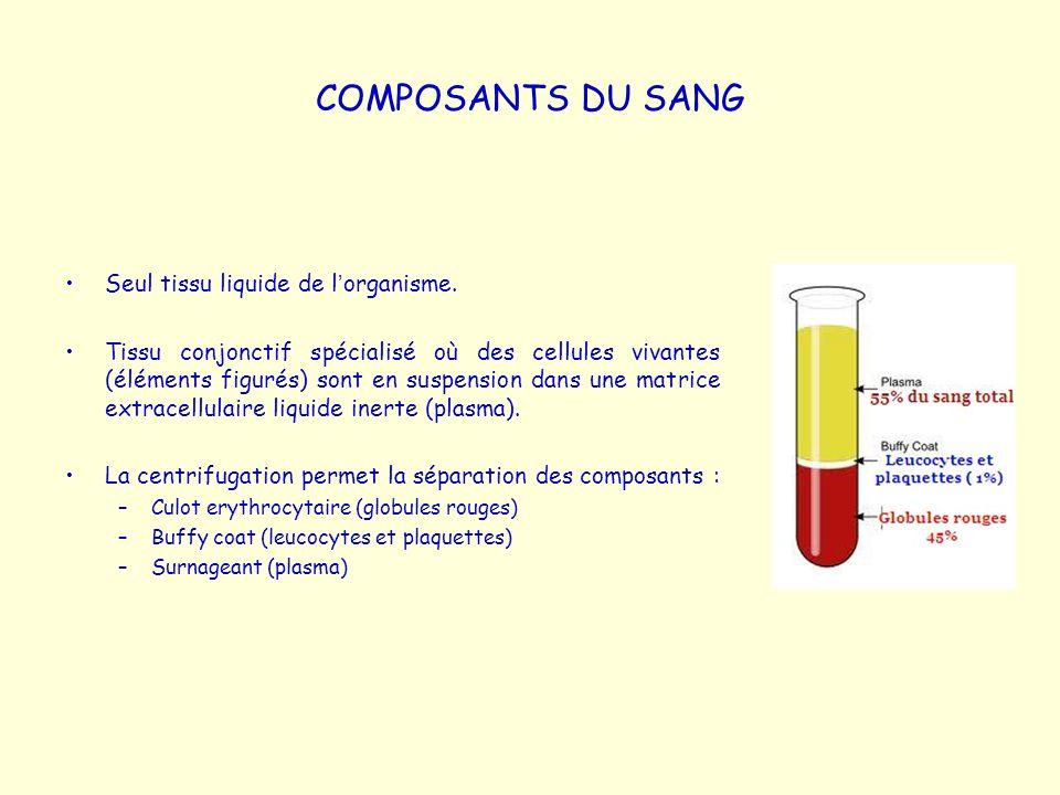 COMPOSANTS DU SANG Seul tissu liquide de l'organisme.