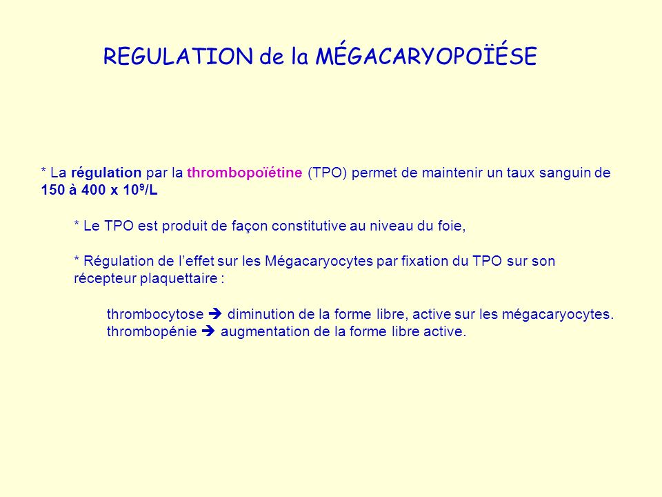 REGULATION de la MÉGACARYOPOÏÉSE