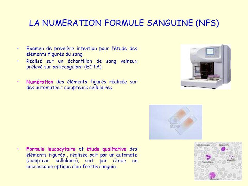 LA NUMERATION FORMULE SANGUINE (NFS)